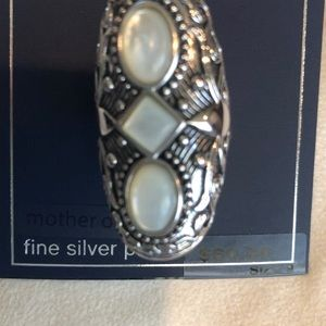 Silver tone oxidized oval ring